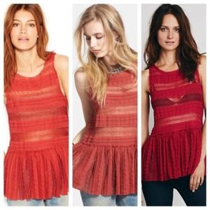 FREE PEOPLE Pucker Lace Stretch Peplum Top Red S